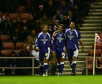 Photo: Andrew Unwin.<br /> Sunderland v Cardiff City. Coca Cola Championship. 31/10/2006.<br /> Cardiff's Michael Chopra (C) celebrates scoring his team's first goal.