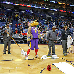 Feb 7, 2018; New Orleans, LA, USA; New Orleans Pelicans mascot Pierre the Pelican looks up towards the roof, the game between the New Orleans Pelicans and the Indiana Pacers was postponed after a nearly two hour delay due to a roof leak at the Smoothie King Center. Mandatory Credit: Derick E. Hingle-USA TODAY Sports