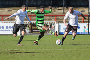 Forest Green's Dale Bennett and Bromley's Lee Minshull battle for the ball during the Vanarama National League match between Bromley FC and Forest Green Rovers at Hayes Lane, Bromley, United Kingdom on 28 March 2016. Photo by Shane Healey.
