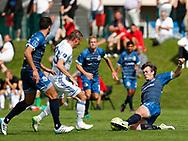 FODBOLD: Martin Pušić (FC København) tackles af Morten Hegaard (FC Helsingør) under kampen i Reserveligaen mellem FC København og FC Helsingør den 28. august 2017 på KB's Anlæg. Foto: Claus Birch