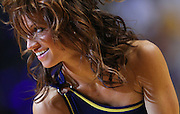 March 14, 2012; Indianapolis, IN, USA; An Indiana Pacers cheerleader dances on the court during a timeout against the Philadelphia 76ers at Bankers Life Fieldhouse. Indiana defeated Philadelphia 111-94. Mandatory credit: Michael Hickey-US PRESSWIRE