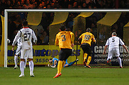 Tom Elliott of Cambridge United (10) scores the opening goal during the Skrill Conference Premier match at the Abbey Stadium, Cambridge<br /> Picture by David Horn/Focus Images Ltd +44 7545 970036<br /> 11/03/2014