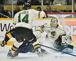 Game action from the 2013 Rogers OHL Championship Series featuring the Barrie Colts vs the London Knights.<br /> Photo by Terry Wilson / OHL Images.