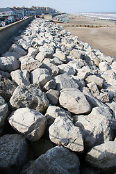 Riprap on beach to prevent erosion at Withernsea; East Yorkshire; England