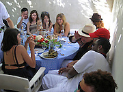 **EXCLUSIVE**.P. Diddy went to Bono's table and asked Penelope Cruz several times to take photos of Bono and himself while having lunch at Club 55 Restaurant in St. Tropez, France..Thursday, July 26, 2007.Photo By Celebrityvibe.com.To license this image please call (212) 410 5354; or.Email: celebrityvibe@gmail.com ;.