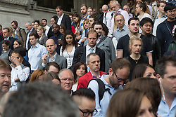© Licensed to London News Pictures. 06/08/2015. London, UK. Crowds of commuters walk from the exit at Waterloo station in London. A tube strike today has closed the TfL London Underground network as members of four unions take industrial action for the second time in a month because of a deadlocked dispute over plans to launch a new all-night tube train service next month. Extra busses have been laid on to help commuters get to work. Photo credit : Vickie Flores/LNP