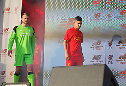 LIVERPOOL, ENGLAND - Monday, May 9, 2016: Liverpool's Philippe Coutinho Correia and goalkeeper Simon Mignolet at the launch of the New Balance 2016/17 Liverpool FC kit at a live event in front of supporters at the Royal Liver Building on Liverpool's historic World Heritage waterfront. (Pic by Lexie Lin/Propaganda)