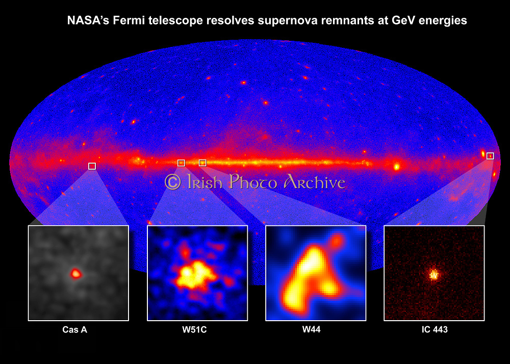 Supernova remnants resolved at GeV gamma rays from  of different ages and in different environments. W51C, W44 and IC 443 are middle-aged remnants between 4,000 and 30,000 years old.  Credit NASA. Science Astronomy
