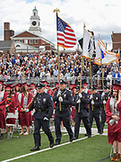 The Arlington Police Department Honor Guard does a presentation of colors during the graduation exercises for the Class of 2017 at the Warren A. Peirce Field in Arlington, June 3, 2017.   [Wicked Local Photo/James Jesson].