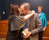 Ellen Sigal, Ph.D. Chairperson and Founder of Friends of Cancer Research hugs <br /> Dr. Douglas R. Lowy, MD, Acting Director, National Cancer Institute speaks during the National Cancer Moonshot Blue Ribbon Panel Discussion at Dirksen Senate Office Building in Washington, DC, on Tuesday, September 27, 2016.  The event was sponsored by the National Coalition for Cancer Research and One Voice Against Cancer. (Alan Lessig/)