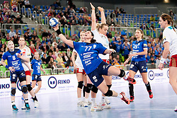 Oana Andreea Manea #77 of RK Krim Mercator during handball match between RK Krim Mercator (SLO) and Larvik HK (NOR) in 1st Round of Women's Champions League on February 1, 2014 in Arena Stozice, Ljubljana, Slovenia. Photo by Urban Urbanc / Sportida