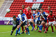 A cross into the 'box is headed by Blackburn Rovers midfielder Richard Smallwood (6) during the EFL Sky Bet League 1 match between Charlton Athletic and Blackburn Rovers at The Valley, London, England on 28 April 2018. Picture by Toyin Oshodi.