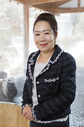 Mrs Izumi Watanabe, the director of Sansuiso Tsuchiyu Spa.  <br />