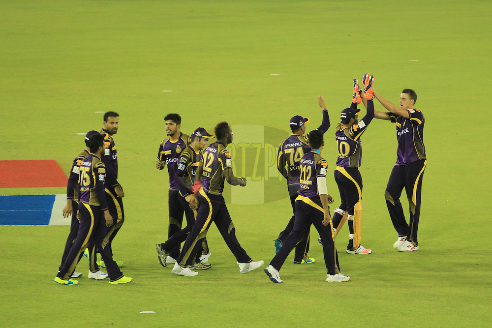 Morne Morkel of Kolkata Knight Riders celebrate the wicket of Manan Vohra of Kings XI Punjab with team players  during match 13 of the Vivo Indian Premier League ( IPL ) 2016 between the Kings XI Punjab and the Kolkata Knight Riders held at the IS Bindra Stadium, Mohali, India on the 19th April 2016<br /> <br /> Photo by Arjun Singh / IPL/ SPORTZPICS