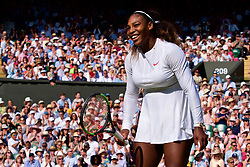 LONDON, ENGLAND - Saturday, July 14, 2018: Serena Williams (USA) during the Ladies' Singles Semi-Final match on day twelve of the Wimbledon Lawn Tennis Championships at the All England Lawn Tennis and Croquet Club. Williams lost 6-3, 6-3. (Pic by Kirsten Holst/Propaganda)