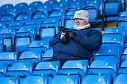 A Leeds United fan during the EFL Sky Bet Championship match between Leeds United and Cardiff City at Elland Road, Leeds, England on 14 December 2019.