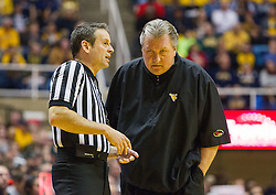 Jan 10, 2017; Morgantown, WV, USA; West Virginia Mountaineers head coach Bob Huggins talks to a referee during the second half against the Baylor Bears at WVU Coliseum. Mandatory Credit: Ben Queen-USA TODAY Sports