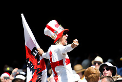"""© Licensed to London News Pictures. 27/12/2013. Barmy army leader Victor """"Vic"""" Flowers sings a chant  during Day 2 of the Ashes Boxing Day Test Match between Australia Vs England at the MCG on 27 December, 2013 in Melbourne, Australia. Photo credit : Asanka Brendon Ratnayake/LNP"""