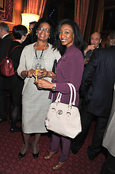 Left to right, DELORIS SMITH and her daughter singer BEVERLEY KNIGHT at a reception for the Stephen Lawrence Charitable Trust hosted by the Speaker of The House of Commons John Bercow and supported by law firm Freshfields Bruckhaus Deringer in The State Rooms, Speaker's House, the House of Commons, London on 19th December 2012.