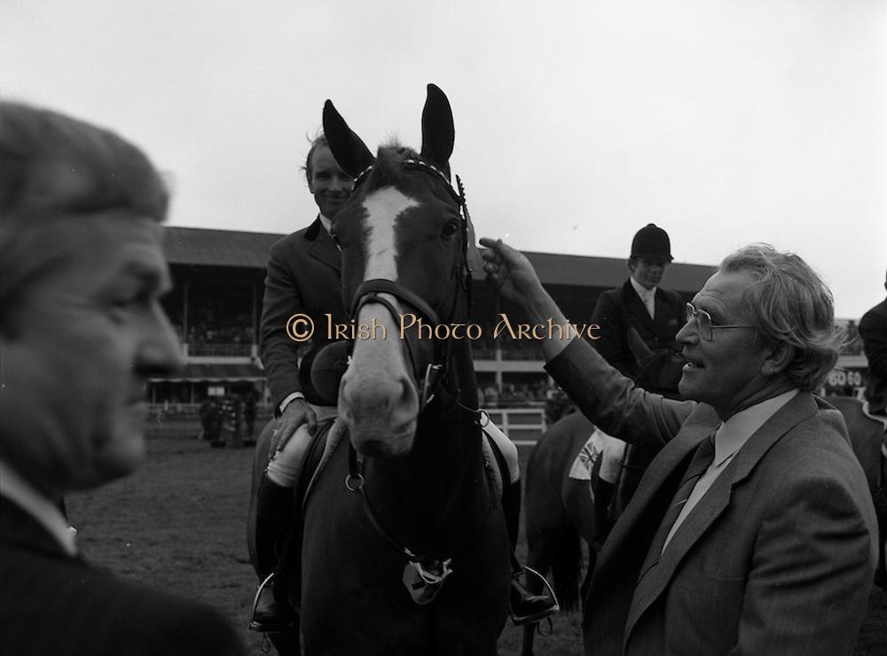 07/08/1980<br /> 08/07/1980<br /> 07 August 1980<br /> R.D.S. Horse Show: John Player International, Ballsbridge, Dublin.  Malcolm Pyrah (Great Britain) on Towerlands Anglezarke won the John Player sponsored competition.