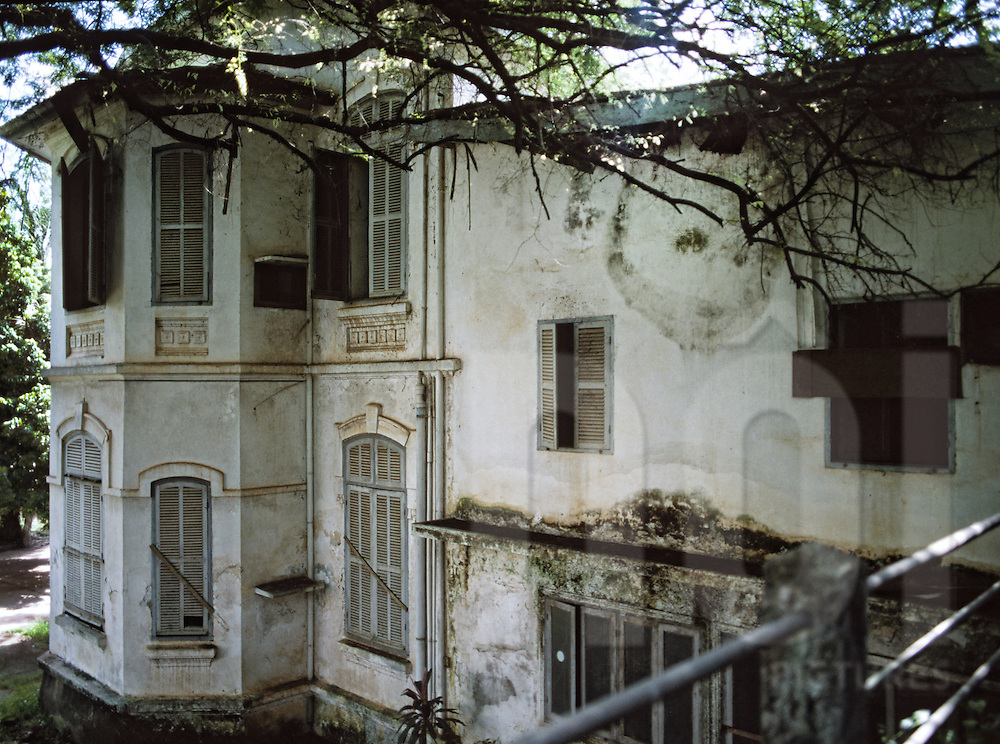 Outsides of an abandoned colonial house, Bahrein Embassy project, Vientiane, Laos, Asia