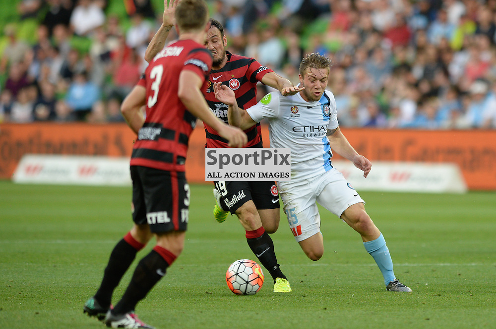 Jacob Melling of Melbourne City, Mark Bridge of Western Sydney Wanderers  - Hyundai A-League, January 9th 2016, RD14 match between Melbourne City FC v Western Sydney Wanderers FC at Aami Park in a 3:2 win to City. Melbourne, Australia. © Mark Avellino | SportPix.org.uk