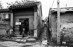 Old house and narrow alley in hutong district in Beijing Beijing