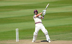Somerset's Tim Groenewald cuts the ball. - Photo mandatory by-line: Harry Trump/JMP - Mobile: 07966 386802 - 15/06/15 - SPORT - CRICKET - LVCC County Championship - Division One - Day Two - Somerset v Nottinghamshire - The County Ground, Taunton, England.