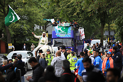 © Licensed to London News Pictures. 16/06/2019. Manchester, UK. Cricket fans outside Old Trafford Cricket ground where India and Pakistan are due to play in the ICC Cricket World Cup . Photo credit: Joel Goodman/LNP