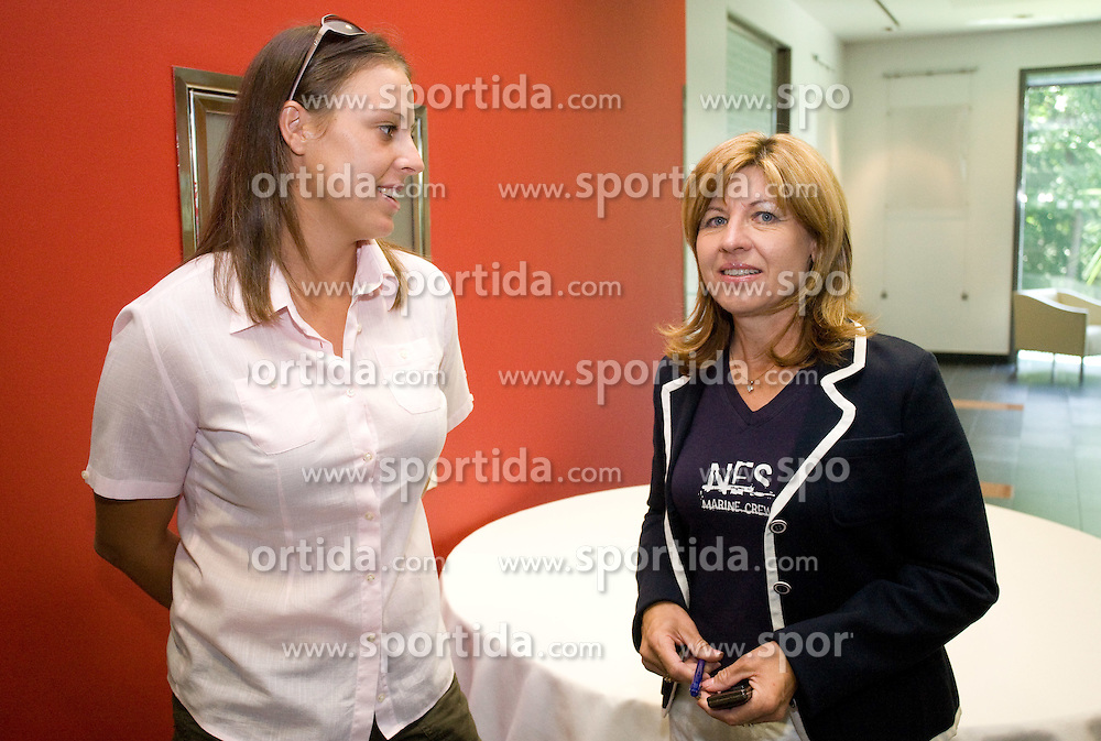 Andreja Klepac and Mima Jausovec at press conference before Banka Koper Slovenia Open 2009 of Sony Ericsson WTA tour in Portoroz,  on July 16, 2009, in Ljubljana, Slovenia. (Photo by Vid Ponikvar / Sportida)
