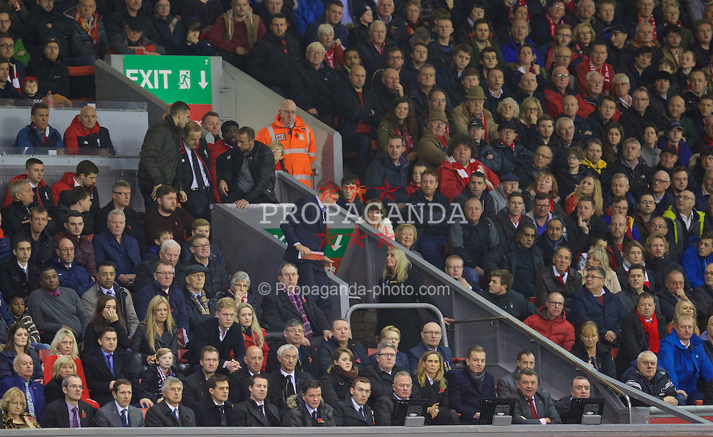 LIVERPOOL, ENGLAND - Sunday, November 8, 2015: Liverpool's leaves his seat in the Director's Box on 80 minutes and misses Crystal Palace's winning goal during the Premier League match at Anfield. (Pic by David Rawcliffe/Propaganda)