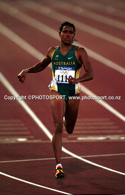 Cathy Freeman of Australia in action during the Women's 200m Final at the Sydney Olympic Games, on September 28 2000. Photo: PHOTOSPORT<br />