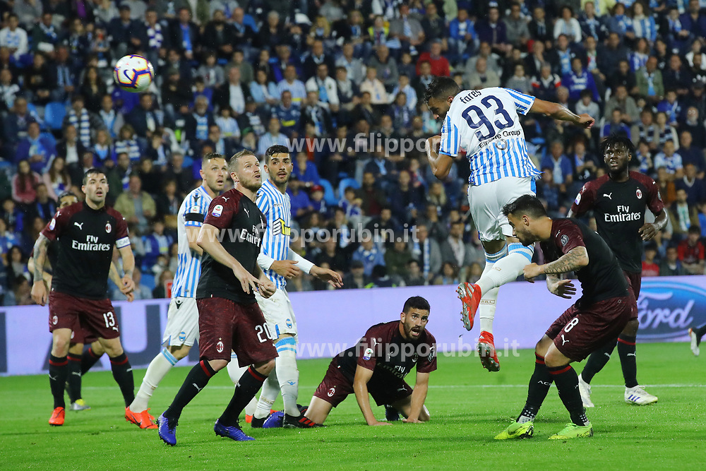"Foto LaPresse/Filippo Rubin<br /> 26/05/2019 Ferrara (Italia)<br /> Sport Spal - Milan - Campionato di calcio Serie A 2018/2019 - Stadio ""Paolo Mazza""<br /> Nella foto: GOAL SPAL MOHAMED FARES (SPAL)<br /> <br /> Photo LaPresse/Filippo Rubin<br /> May 26, 2019 Ferrara (Italy)<br /> Sport Soccer<br /> Spal vs Milan - Italian Football Championship League A 2018/2019 - ""Paolo Mazza"" Stadium <br /> In the pic: GOAL SPAL MOHAMED FARES (SPAL)"