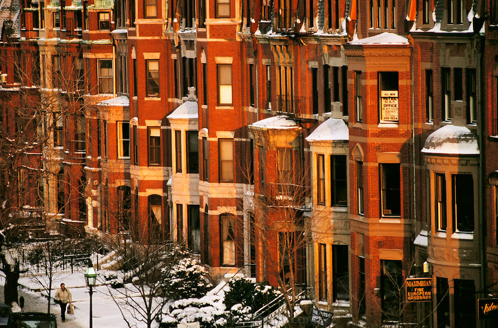 Winter afternoon on Newbury St., Back Bay, Boston, Massachusetts.  New England, USA.