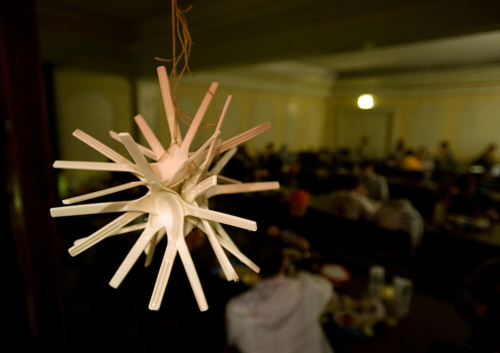 Decorations made from recycled goods were part of the festivities during Candlelight Dinner held at Nelson Commons Wednesday.. ....Conservation Dinner: Wednesday, February 25th,  Nelson Dining Hall will enjoy the first candlelit dinner at Nelson