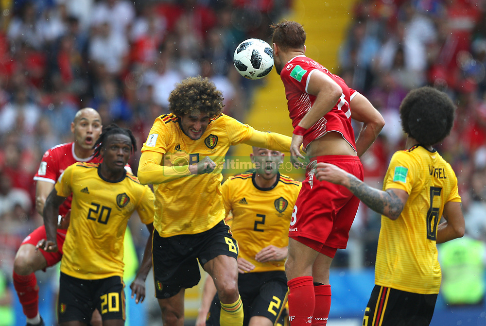 June 23, 2018 - Moscou, Rússia - MOSCOU, MO - 23.06.2018: BÉLGICA Y TÚNEZ - Marouane FELLAINI from Belgium heads the ball during the match between Belgium and Tunisia valid for the 2018 World Cup held at the Otkrytie Arena (Spartak) in Moscow, Russia. (Credit Image: © Rodolfo Buhrer/Fotoarena via ZUMA Press)