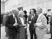 The G.P.A.awards for Emerging Artists..(Guinness Peat Aviation).1984..23.09.1984..09.23.1984..23rd September 1984..The award ceremony was held at The Royal Hibernian Academy of Arts,Gallagher Gallery,Ely Place,Dublin..Photo of (L-R), Mr Michael Dargan,his wife Mrs Blanche Dargan,Mr Ted Nealon TD,Minister for Arts and Culture and Mr Gordon Lambert sharing views of the exhibits.