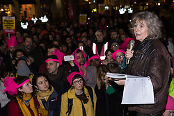 London, UK. 11th December, 2018. Margot Leicester, mother of one of the Stansted 15, addresses protesters gathered outside the Home Office to protest against their conviction using an anti-terrorism offence under the Aviation and Maritime Security Act 1990 following non-violent direct action to try to prevent a Home Office deportation flight carrying immigrants to Nigeria, Ghana and Sierra Leone from taking off from Stansted airport in March 2017. The judge directed the jury to disregard evidence put forward in their defence that their acts were intended to stop human rights abuses.