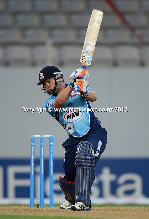 Craig Cachopa batting during the HRV Cup Twenty20 Cricket match between Auckland Aces and Canterbury Wizards at Eden Park on Friday 21 December 2012. Photo: Andrew Cornaga/Photosport.co.nz