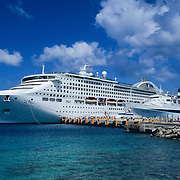 Cruise ship on dock. Cozumel, Q.Roo. Mexico