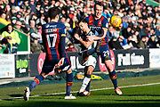 Ruben Lameiras (11) of Plymouth Argyle is held by Tony McMahon (29) of Bradford City during the EFL Sky Bet League 1 match between Plymouth Argyle and Bradford City at Home Park, Plymouth, England on 24 February 2018. Picture by Graham Hunt.