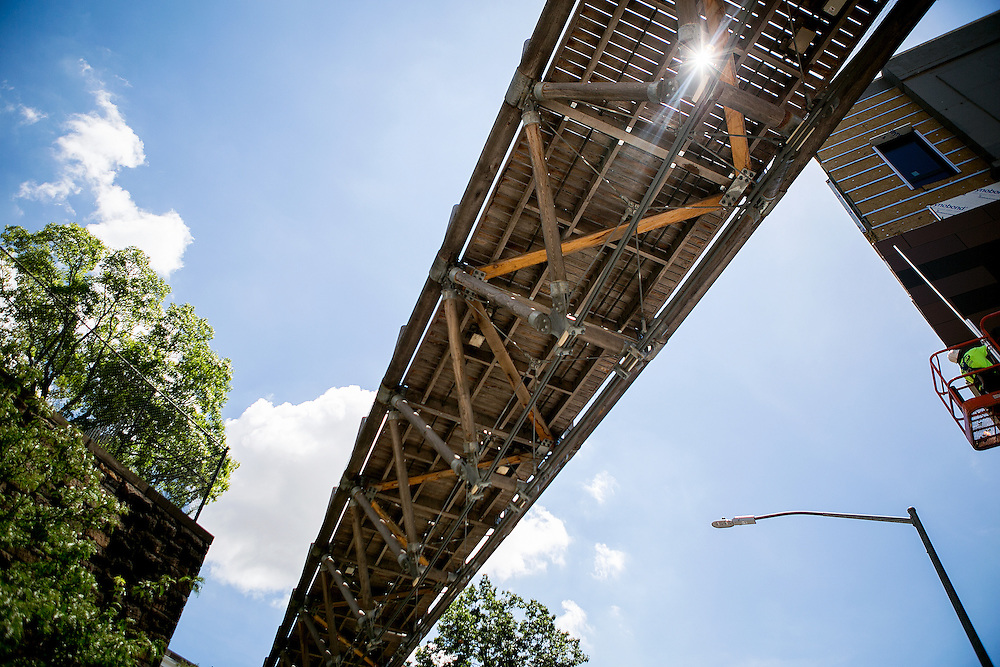 BROOKLYN, NY - JULY 11, 2016: General views of the underside of the Squibb Park Bridge, where renovations are on the way to make the bridge safer and less bouncy, in Brooklyn, New York. CREDIT: Sam Hodgson for The New York Times.