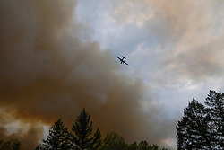 September 12, 2015 - Lake County, California.  CalFire tanker aircraft fighting the rapidly spreading Valley Fire. (Kim Ringeisen / Polaris)
