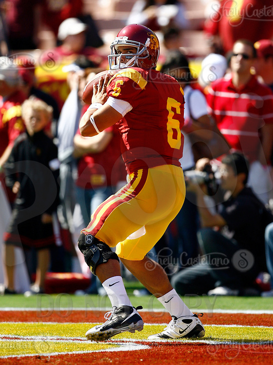 11 October 2008: NCAA Pac-10 USC Trojans 28-0 shut-out win over the Arizona State University Sun Devils during a day college football game at the Los Angeles Memorial Coliseum in Southern California. Trojans quarterback #6 Mark Sanchez.