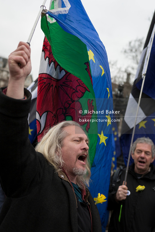 Pro-EU Remainers celebrate EU membership by singing Ode To Joy during their 'party like there's no tomorrow' for one last time outside parliament, one day before Brexit Day (the date of 31st January 2020, when the UK legally exits the European Union), in Parliament Square, Westminster, on 30th January 2020, in London, England.