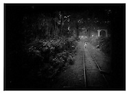 Tamil follows train tracks through jungle, Tamil Nadu.