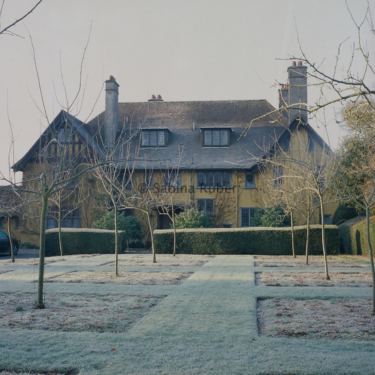 Frosted lawn. Front of House. Winter: Bryan's Ground, Herefordshire