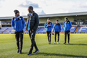 FGR players pre match walk about during the FA Trophy match between Macclesfield Town and Forest Green Rovers at Moss Rose, Macclesfield, United Kingdom on 4 February 2017. Photo by Shane Healey.
