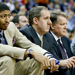 Dec 4, 2013; New Orleans, LA, USA; New Orleans Pelicans power forward Anthony Davis out with a fractured hand watches from the bench during the second quarter of a game against the Dallas Mavericks at New Orleans Arena. Mandatory Credit: Derick E. Hingle-USA TODAY Sports