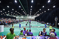 General view on South Hall Convention Centre while badminton competition during seventh day of the Special Olympics World Games Los Angeles 2015 on July 31, 2015 at South Hall of Convention Centre  in Los Angeles, USA.<br /> <br /> USA, Los Angeles, July 31, 2015<br /> <br /> Picture also available in RAW (NEF) or TIFF format on special request.<br /> <br /> For editorial use only. Any commercial or promotional use requires permission.<br /> <br /> Adam Nurkiewicz declares that he has no rights to the image of people at the photographs of his authorship.<br /> <br /> Mandatory credit:<br /> Photo by © Adam Nurkiewicz / Mediasport